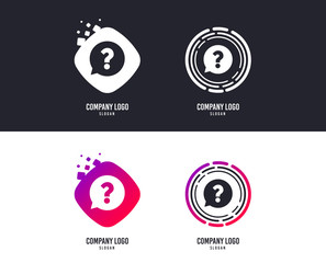 Logotype concept. Question mark sign icon. Help speech bubble symbol. FAQ sign. Logo design. Colorful buttons with icons. Vector