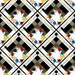 Beautiful red flowers pattern on plaid background. pattern of rose, eps10