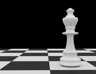 White chess king on chessboard on black background