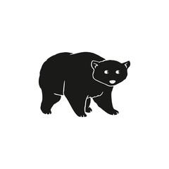 Flat vector cartoon bear