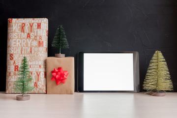 Black christmas mock-up with christmas decoration