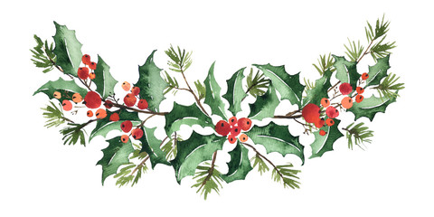 Christmas watercolor floral arrangement of holly with berries and spruce