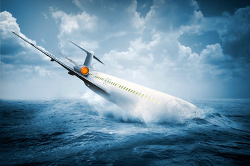 Obraz Falling plane accident crashing into the water - fototapety do salonu