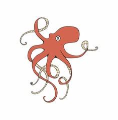 Red octopus vector illustration