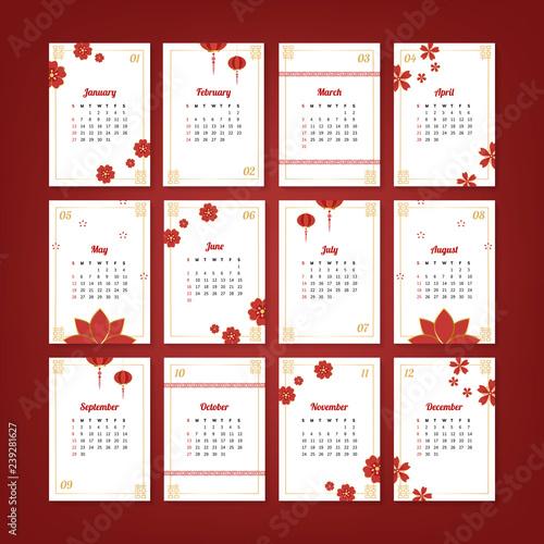 Chinese calendar mockup