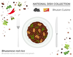 Bhutan Cuisine. Asian national dish collection. Bhutanese red rice isolated on white, infograpic