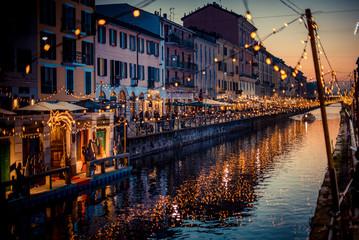 Fotomurales - Christmas lights and floating nativity scene at Navigli Milano Italy - winter xmas time