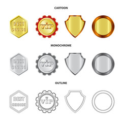 Vector illustration of emblem and badge sign. Set of emblem and sticker stock symbol for web.