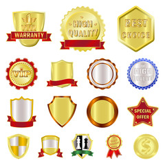 Vector design of emblem and badge sign. Set of emblem and sticker vector icon for stock.