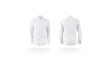 Blank white weared classic mens shirt mockup set, front back Wall mural