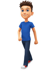 Cartoon character guy in a blue t-shirt walks on a white background. 3d rendering. Illustration for advertising.