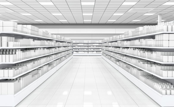 Interior of a supermarket with shelves with goods. 3d image