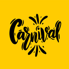Carnival in Brazil. Hand drawn vector lettering. Isolated.