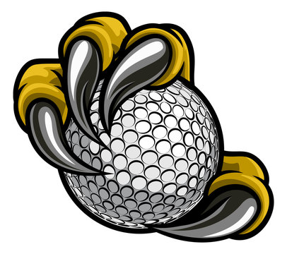 Eagle, bird or monster claw or talons holding a golf ball. Sports graphic.