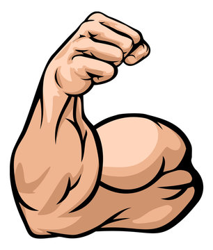 A strong arm showing its biceps muscle illustration