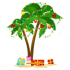 Cartoon green palm tree surrounded with christmas presents