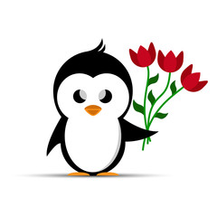 penguin holding a bouquet of red flowers