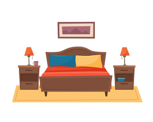 Bedroom with furniture. Flat style vector illustration.