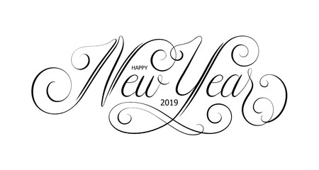 HAPPY NEW YEAR 2019 ornate vector calligraphy banner