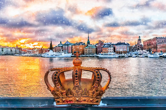 panorama of winter Stockholm at sunset, Sweden