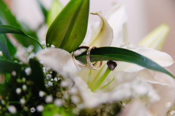 lilies with wedding rings