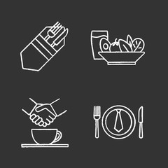 Business lunch chalk icons set