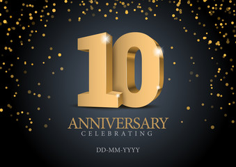 Anniversary 10. gold 3d numbers.