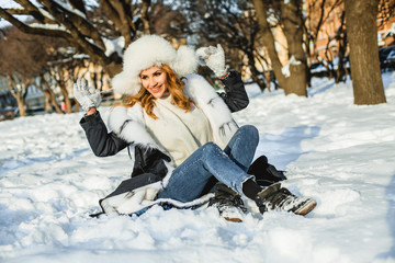 Happy winter holiday. Beautiful winter woman outdoor