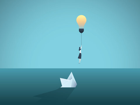 Business idea and creativity vector concept with businesswoman flying away from sinking paper boat. Symbol of innovation, great ideas, creative thinking and finding solutions.