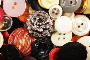 Many different vintage buttons.