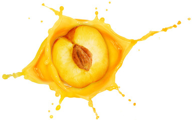 Wall Mural - half peach fallen into a juice splash isolated on white
