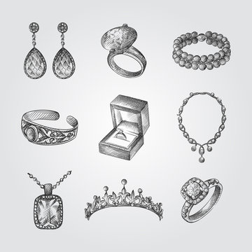 Hand Drawn Jewelry Sketches Set. Collection Of Accessories Sketches isolated on white background.
