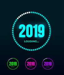Doodle with 2019 loading. New year download screen. Progress bar almost reaching new years eve. Vector illustration. Isolated on dark background.