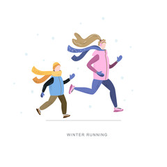 Young woman and child running in winter cold season. Handdrawn vector illustration