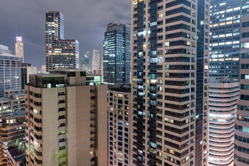 Makati city in Philippines. Night Photo Shoot with Skyscraper in Background.