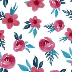 watercolor floral flower art seamless pattern design