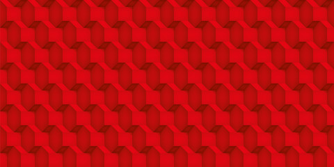 Volume realistic vector cubes texture, red geometric seamless pattern, design scarlet background for you projects