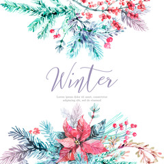 Pastel winter floral background in watercolor style