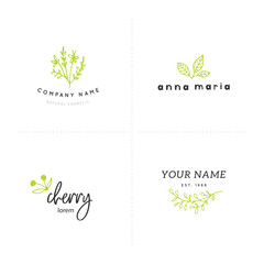 Vector set of floral hand drawn logo templates in elegant and minimal style.