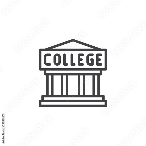 College building outline icon  linear style sign for mobile concept