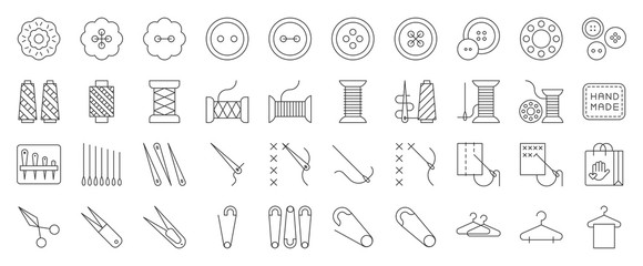 Sewing and handcraft elements icon. editable line design