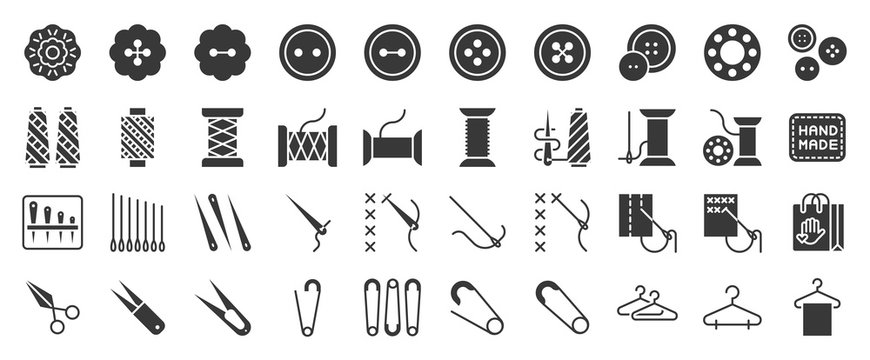 Sewing and handcraft elements icon. solid design