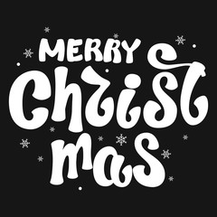 Inscription - Merry Christmas . Lettering design. Handwritten typography. Vector