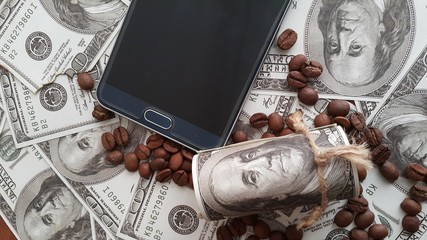 coffee bean  mobile phone money