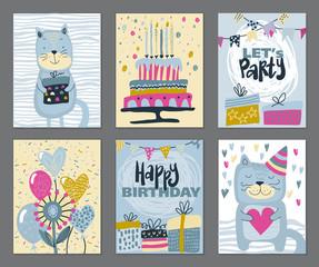Set of three Happy Birthday Party cards. Vector hand drawn illustration