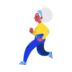 Vector flat elderly woman in sportsuit doing sport. Old beautiful female character working out running or jogging. Grandmother at retirement, pension and healthy lifestyle.