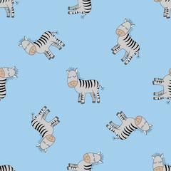 Cute Zebras seamless patern. Decorative cute wallpaper, good for printing.