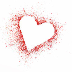 Heart as symbol of love. A border from glitter particles isolated on white
