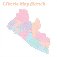 Liberia map. Hand-drawn country. Popular sketchy Liberia map with regions. Vector illustration.