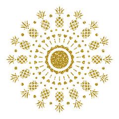 Golden Pineapple. Glitter Ornament. Vector